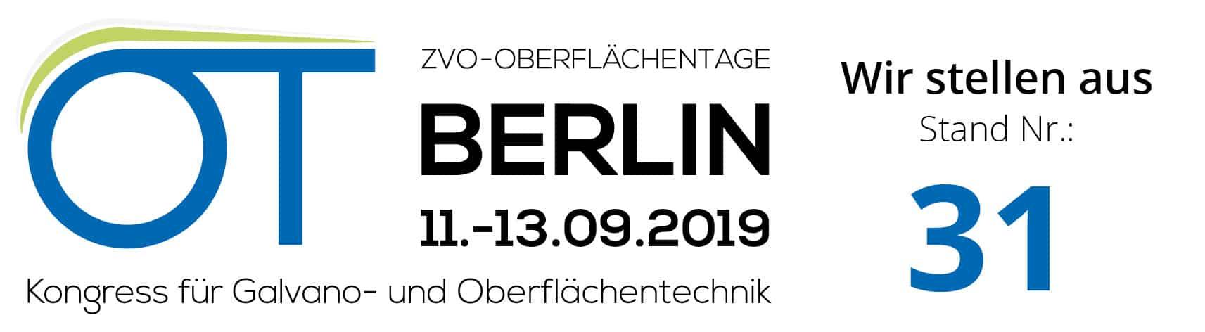 Besuchen Sie uns in Berlin auf den ZVO Oberflächentagen 2019!